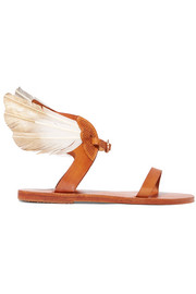 + CARAVANA Ikaria Tulum feather-embellished leather sandals