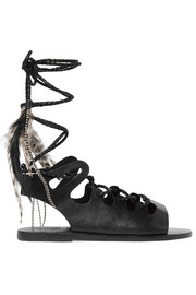 + CARAVANA Antigone Tulum feather-embellished leather sandals