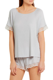Eberjey Lottie lace-trimmed ribbed jersey pajama top