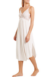 Eberjey Colette lace-paneled jersey nightdress