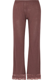 Saskia lace-trimmed stretch-jersey pajama pants