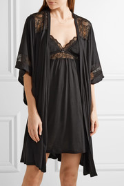 Adeline lace-trimmed stretch-jersey robe