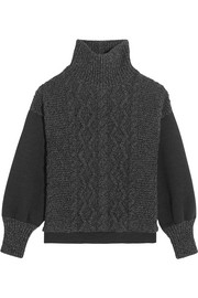 Tomas Maier Cable-knit wool-blend and scuba-jersey turtleneck sweater