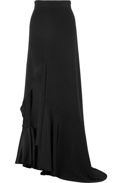 Juan Carlos Obando - Mariposa Asymmetric Silk-crepe Maxi Skirt - Black