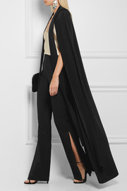 Avalon silk-crepe cape