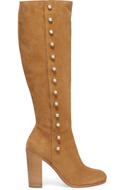 Buttoned suede knee boots