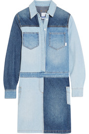 Patchwork denim shirt dress