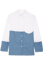 Paneled twill and denim top
