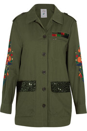 Embroidered sequined cotton-blend jacket