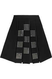 Embellished pleated crepe mini skirt