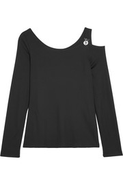 Cutout stretch-jersey top