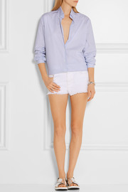 Stella McCartney Embroidered cut-off denim shorts