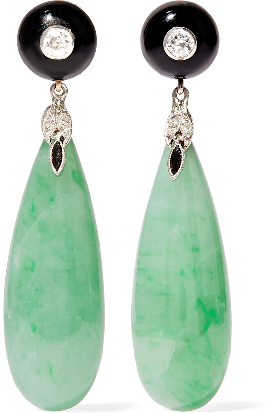 Fred Leighton Collection 18-Karat White Gold Multi-Stone Earrings, White Gold/Jade, Women's