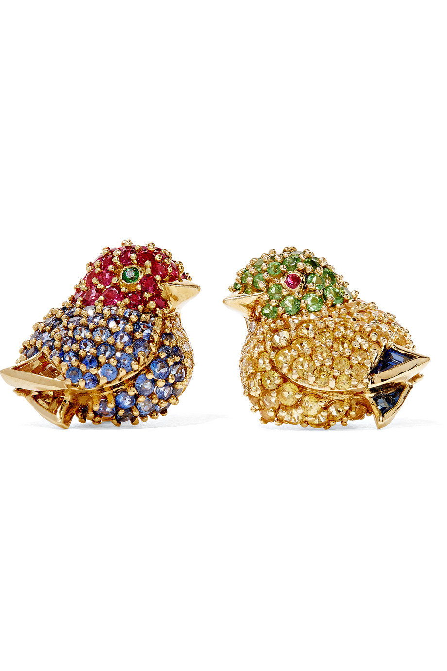 Fred Leighton Contemporary 18-Karat Gold Multi-Stone Clip Earrings, Women's
