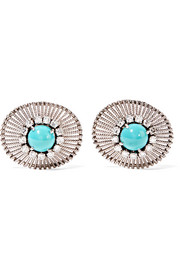 Fred Leighton 1960s platinum, turquoise and diamond clip earrings