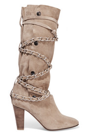 Soono chain-trimmed suede boots