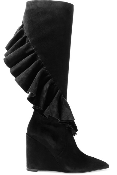 J.W.Anderson - Ruffled Suede Wedge Knee Boots - Black