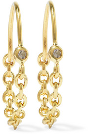 Suspension gold-plated topaz earrings