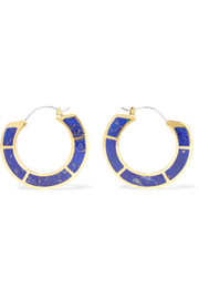 Enclosure gold-plated lapis lazuli earrings