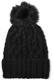 Andrea faux fur-trimmed cable-knit alpaca beanie