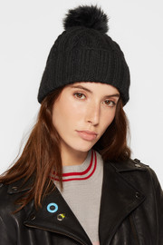 Eugenia Kim Andrea faux fur-trimmed cable-knit alpaca beanie