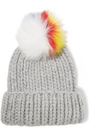 Rain faux fur-trimmed cable-knit wool beanie