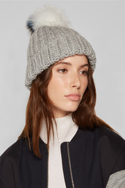 Eugenia Kim Rain faux fur-trimmed cable-knit wool beanie
