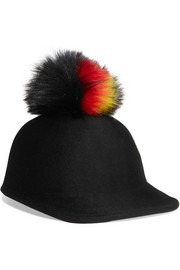 Bo faux fur-trimmed wool-felt cap