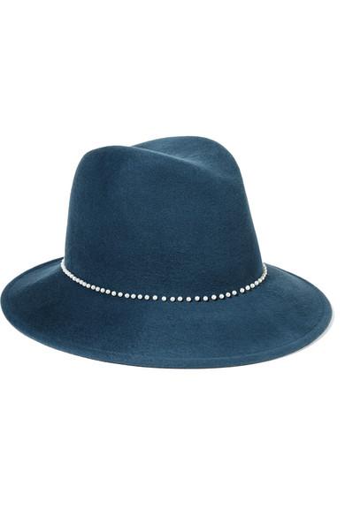 Eugenia Kim - Bianca Faux Pearl-embellished Wool-felt Fedora - Storm blue
