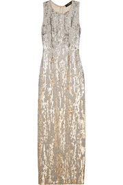 Jenny Packham Sequined silk-voile gown