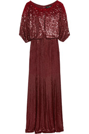Jenny Packham Cape-effect sequined silk-voile gown