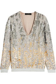 Embellished silk and jersey top