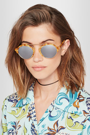 Milan III gold-tone and acetate mirrored sunglasses