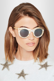 Illesteva Boca II cat-eye marble acetate and gold-tone sunglasses