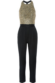 Jeri embellished tulle and hammered-satin jumpsuit