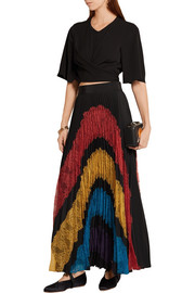 Romona pleated lace-paneled georgette maxi skirt