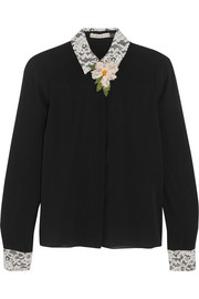 Alice + Olivia Willa embellished lace-trimmed silk-blend georgette blouse