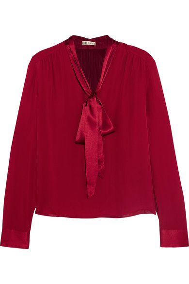 Alice + Olivia - Irma Pussy-bow Silk-georgette Blouse - Claret