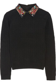 Alice + Olivia Brooke embellished cotton-trimmed stretch-wool sweater