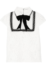 Alice + Olivia Vanetta silk-chiffon and velvet-trimmed cotton-blend lace blouse
