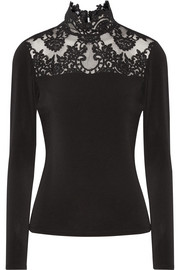 Alice + Olivia Jennine corded lace-trimmed stretch-crepe top