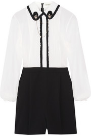 Kara embellished ruffle-trimmed chiffon and stretch silk-crepe playsuit