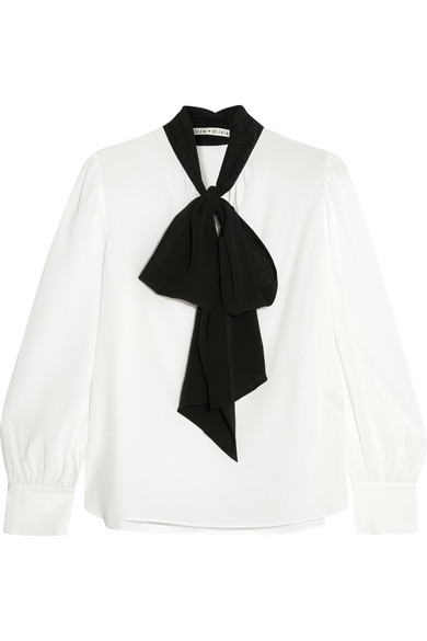 Alice + Olivia - Treena Pussy-bow Silk-blend Blouse - White