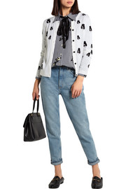 Stacey Emoji embroidered stretch-wool cardigan