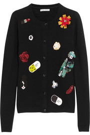 Alice + Olivia Cecila embellished stretch-wool cardigan