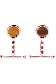 Eddie Borgo Voyager rose gold-plated, tiger's eye and crystal earrings