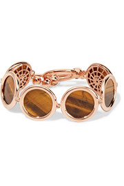 Eddie Borgo Voyager rose gold-plated, tiger's eye and crystal bracelet