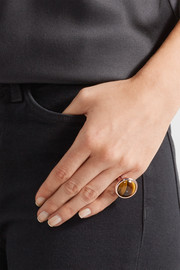 Voyager Signet rose gold-plated tiger's eye ring