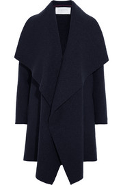 Draped wool-felt coat