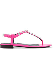 Neon studded leather sandals